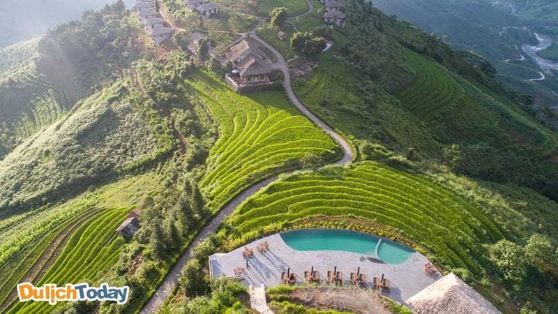 Toàn cảnh resort Topas Ecolodge nhìn từ trên cao