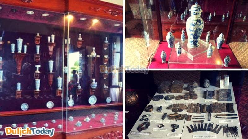"""Các cổ vật trong """"kho báu Hòn Cau"""" được trưng bày tại Bạch Dinh"""
