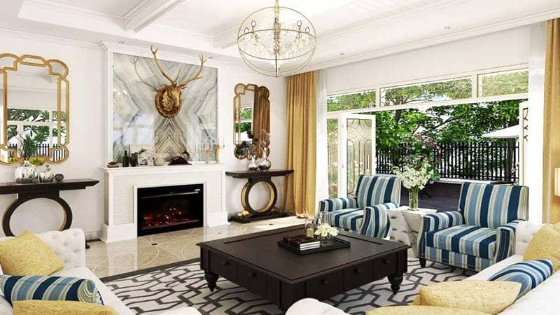 Thiết kế phòng khách theo hơi hướng Địa Trung Hải tại một căn biệt thự. Nguồn: flchalongbay
