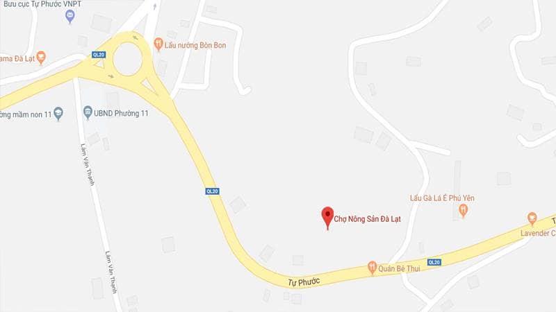 Chợ nông sản Đà Lạt nằm ở đường Tự Phước, Phường 11