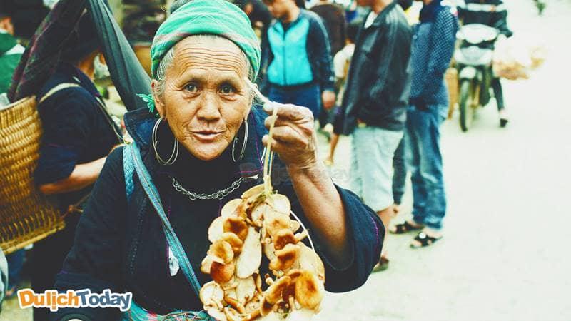 Người dân tộc Mông đem nấm hương rừng ra chợ bán
