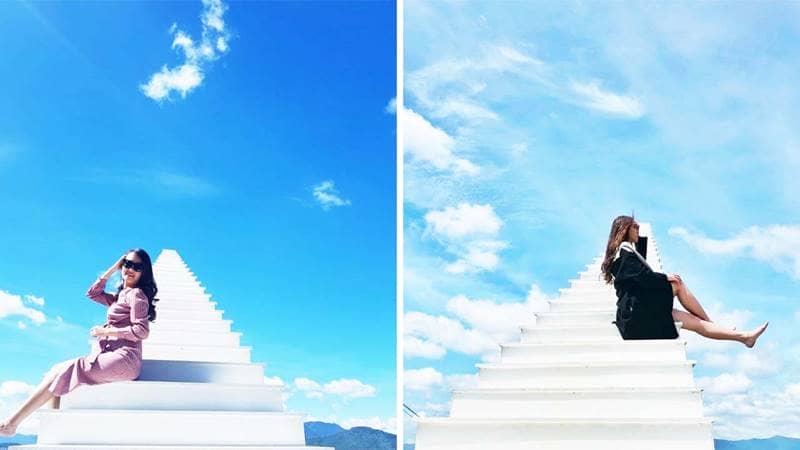 Nấc thang lên thiên đường ở Sunny Farm Coffe là địa điểm mới tại Đà Lạt được giới trẻ check-in nhiều nhất. Nguồn: Internet