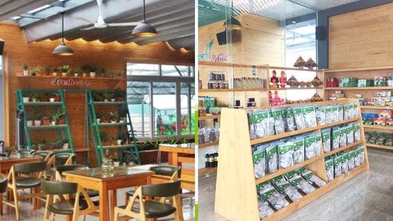 Quán cà phê và shop bán đặc sản tại Fresh Đà Lạt. Nguồn: Internet