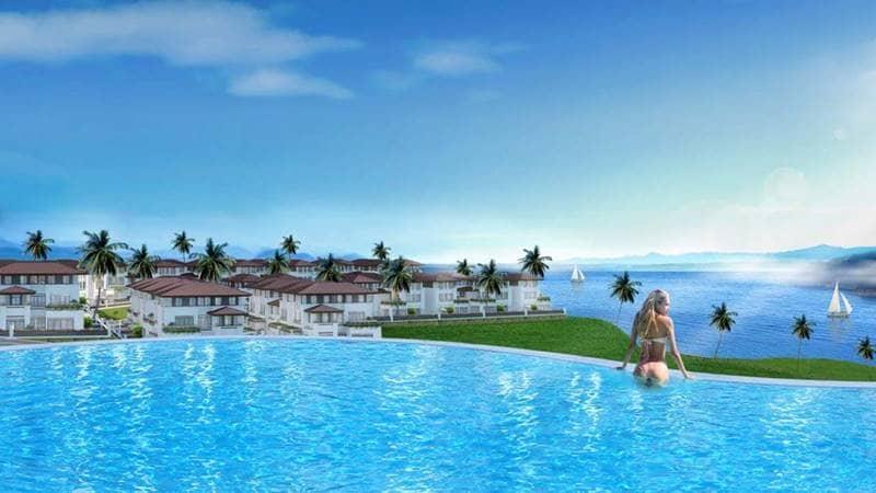 Phối cảnh hồ bơi vô cực tại khu nghỉ dưỡng FLC Quảng Ninh. Nguồn: flchalong