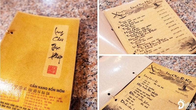 """Thiết kế trong """"Làng Chài thưc pháp"""" - cuốn menu độc đáo của Kiếm Hiệp Làng Chài"""
