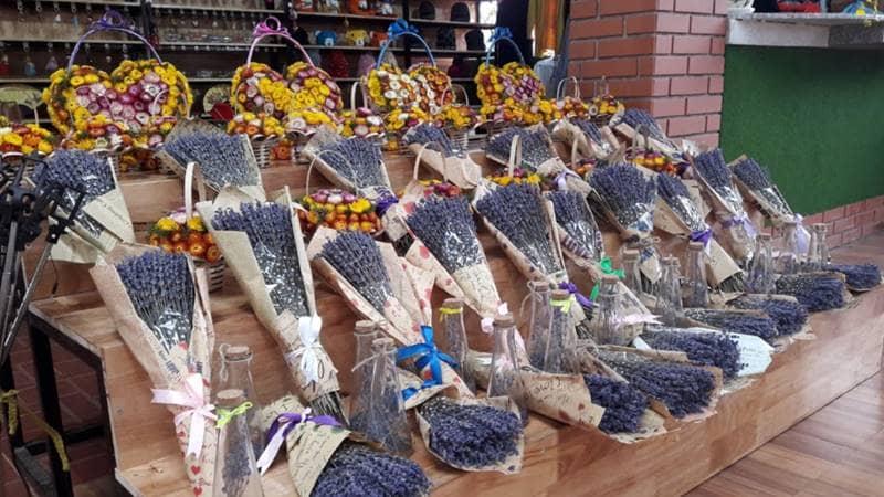Gian hàng hoa khô tại vườn hoa Vạn Thành