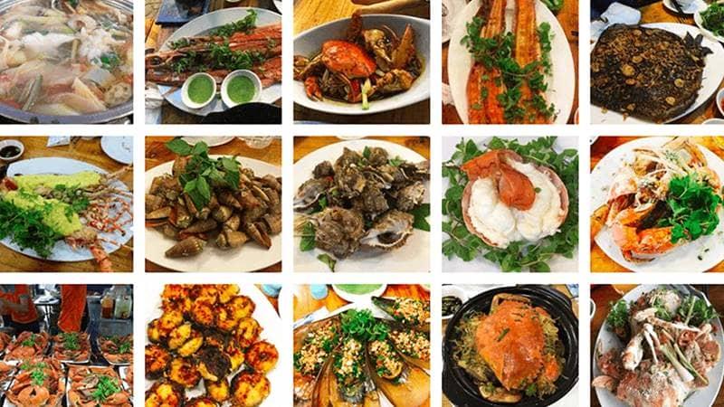 Nhà hàng sông Hồng phục vụ nhiều món hải sản không quá đắt. Nguồn: Internet