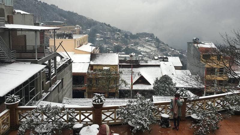 View nhìn từ nhà nghỉ mùa xuân Sapa vào mùa tuyết