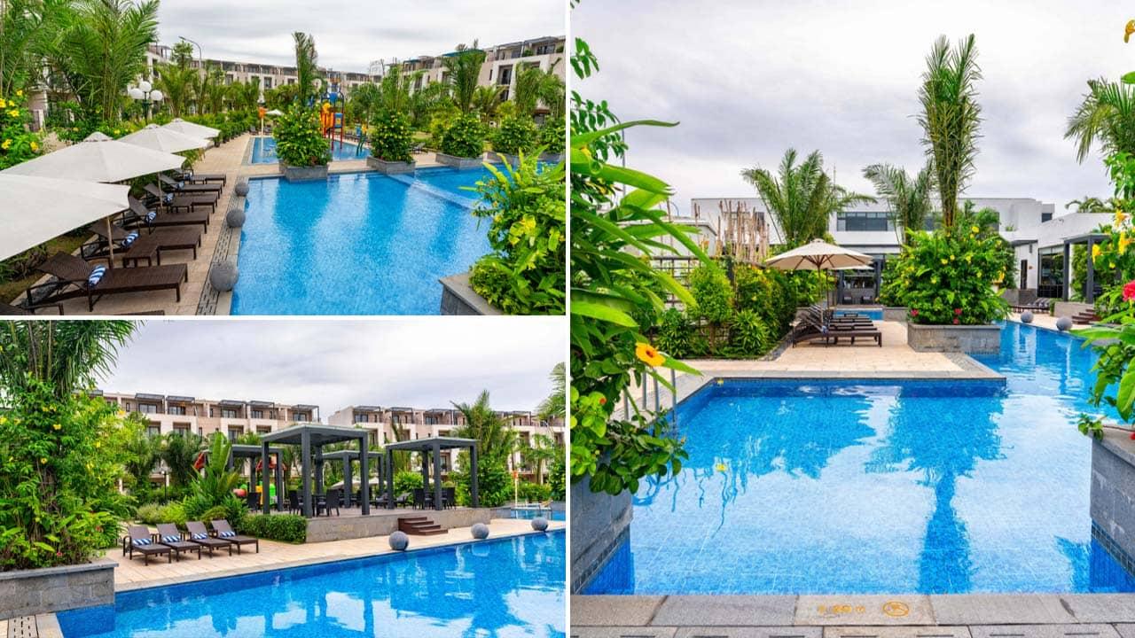 Bể bơi tại Royal Lotus Resort được bao quanh bởi rất nhiều cây xanh. Nguồn: Internet