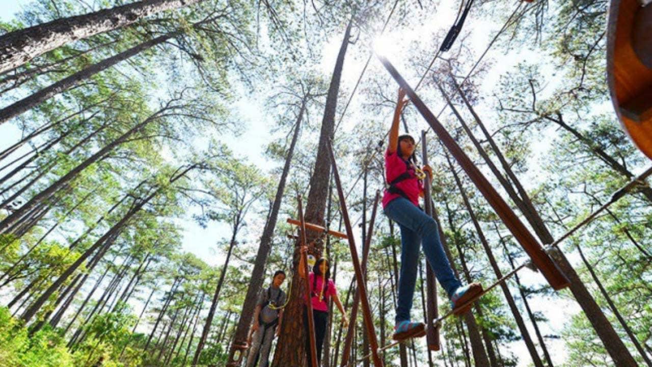 Zipline là trò đu dây trên cao có độ nguy hiểm cao