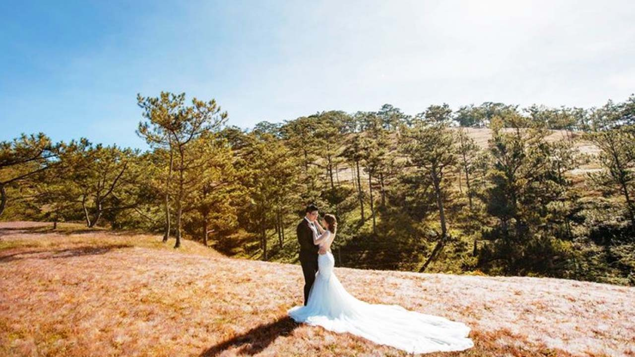 Cặp đôi chọn đồi cỏ hồng Đà Lạt làm địa điểm chụp ảnh cưới. Nguồn: Internet