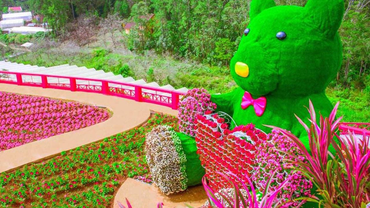 Hoa được kết tạo thành hình trái tim tại Fesh Garden