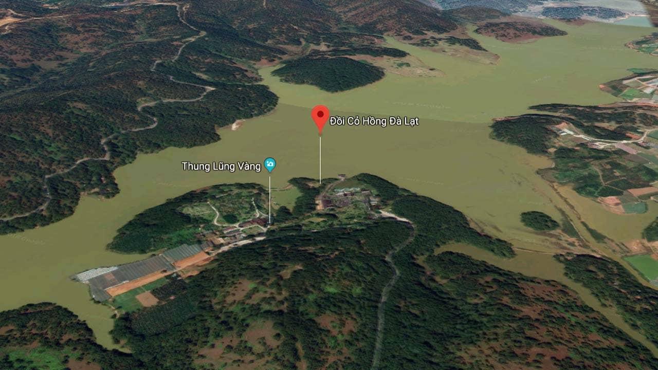 Địa chỉ đồi cỏ hồng Đà Lạt nằm bên hồ Suối Vàng và Thung Lũng Vàng