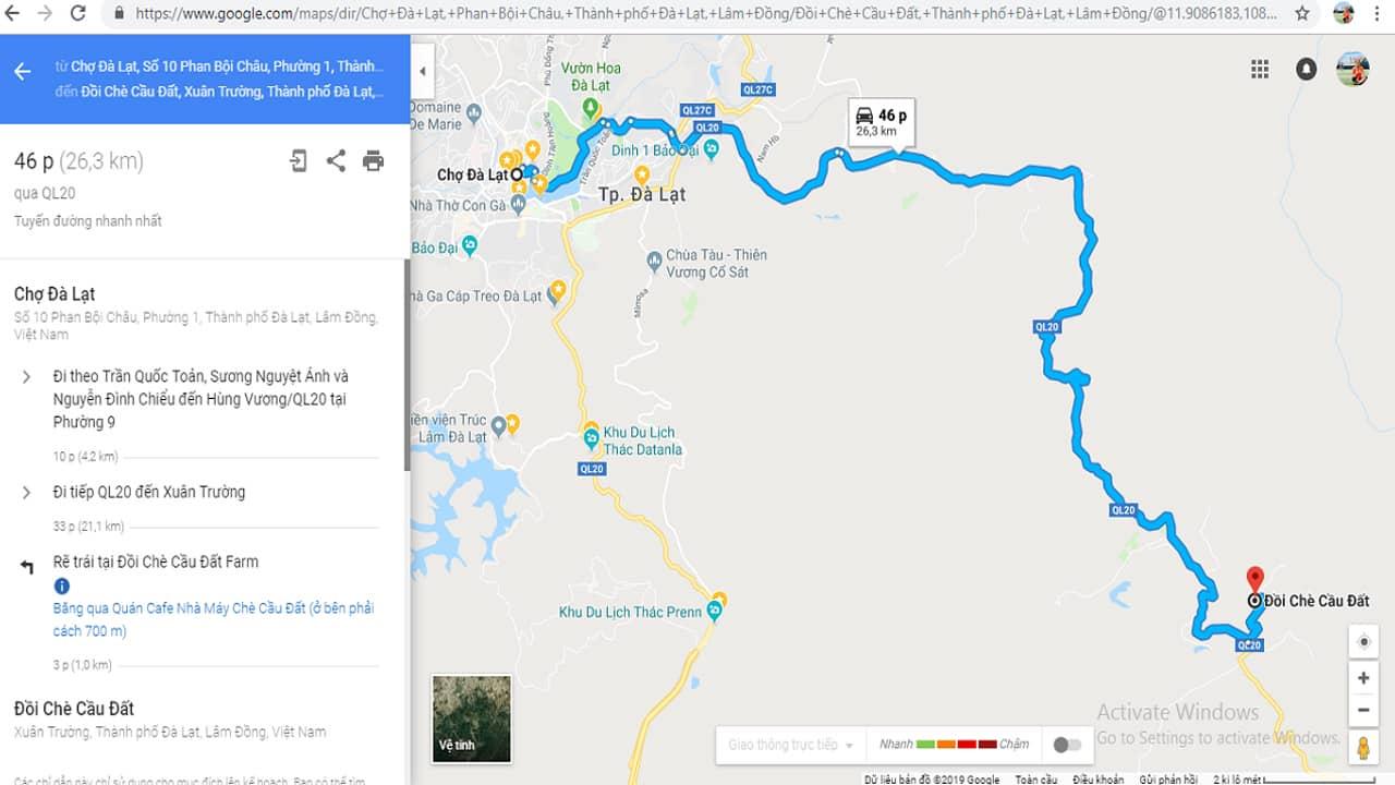 Map chỉ dẫn đường đi đến đồi chè Cầu Đất Đà Lạt
