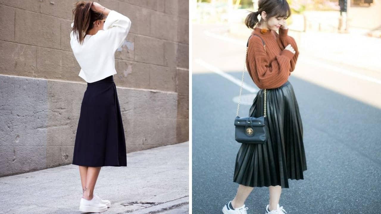 Chân váy và áo dài tay cho những buổi thời tiết tháng 7 se lạnh