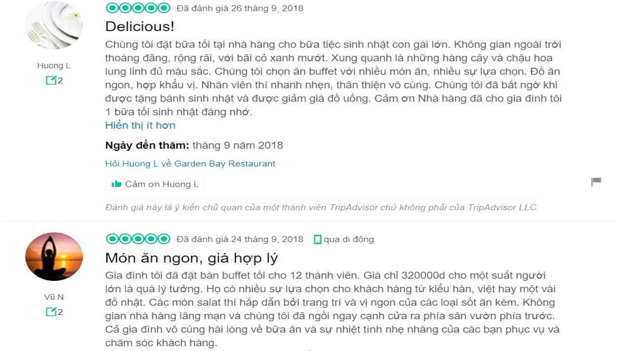 Review của du khách về ẩm thực tại Royal Lotus Resort. Nguồn: Internet