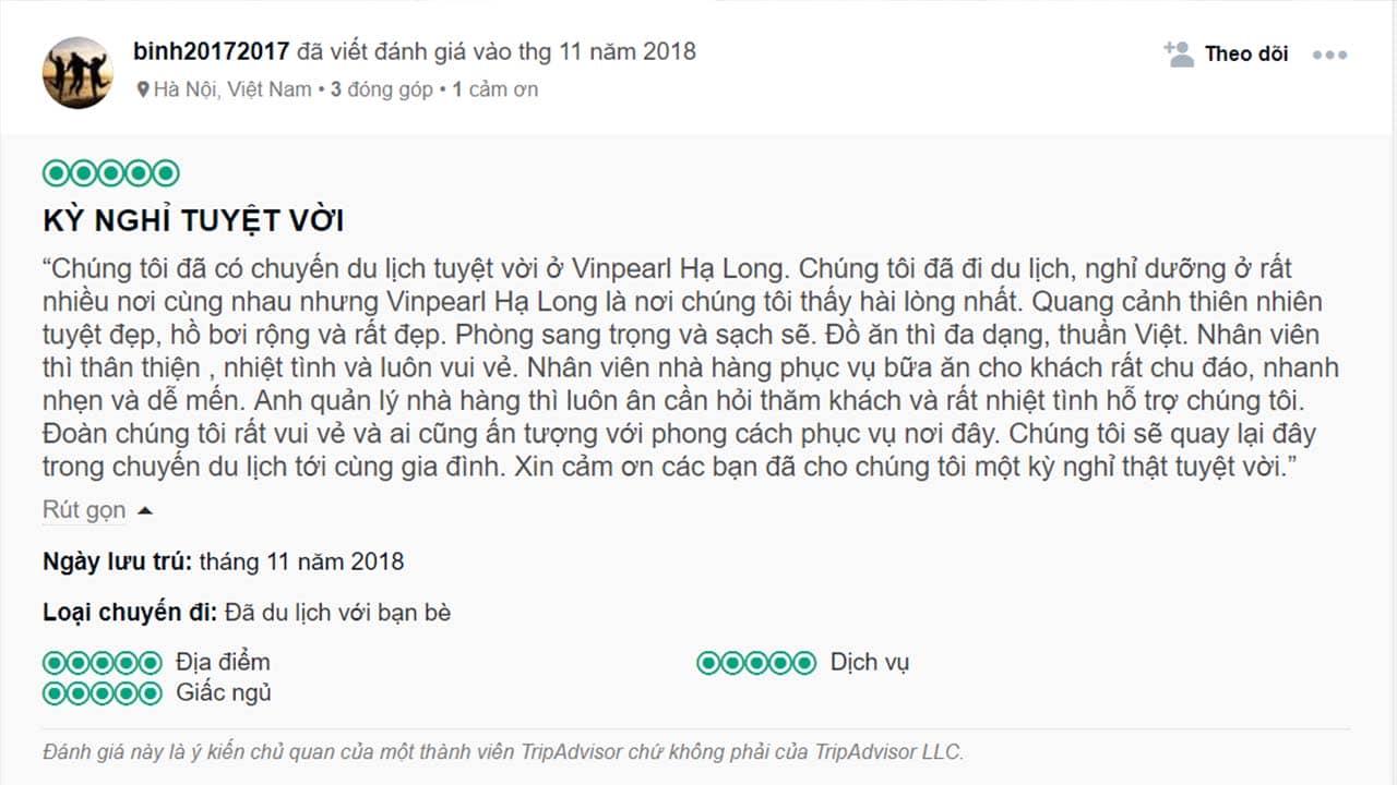 Review Vinpearl Hạ Long Resort của một khách du lịch trên TripAdvisor