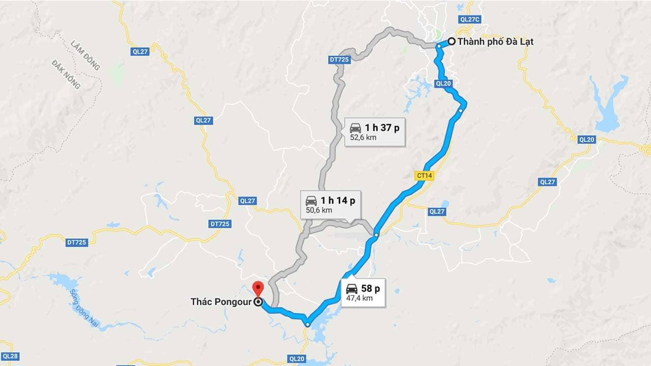 Thác Pongour cách Đà Lạt chừng 50km