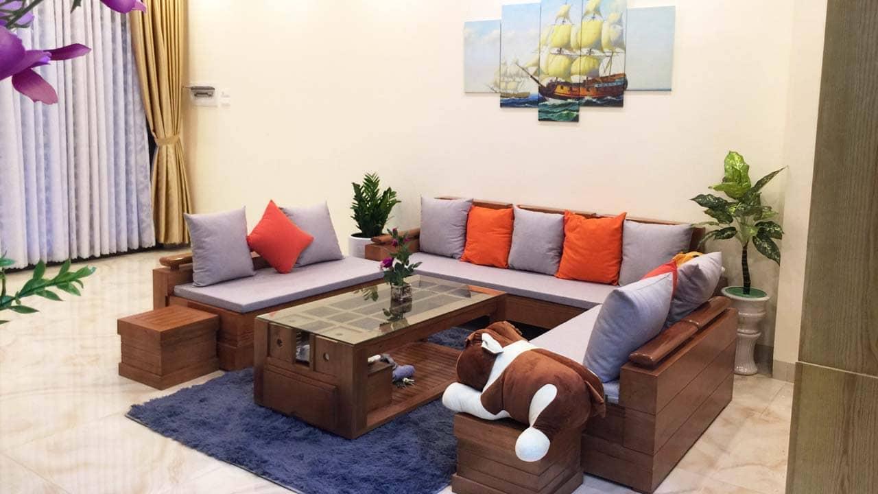 Phòng khách rộng rãi với thiết ấm áp. Nguồn: Internet