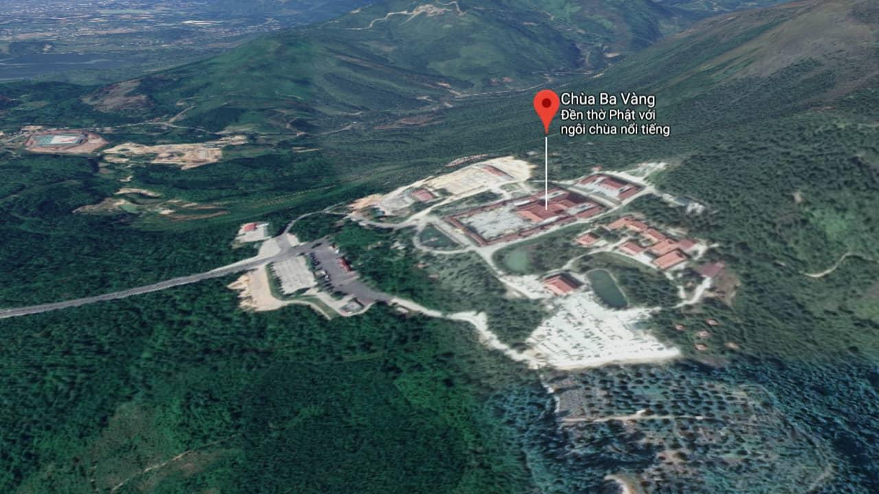 Chùa Bà Vàng Uông Bí Quảng Ninh nằm trên lưng chừng núi. Nguồn: Internet