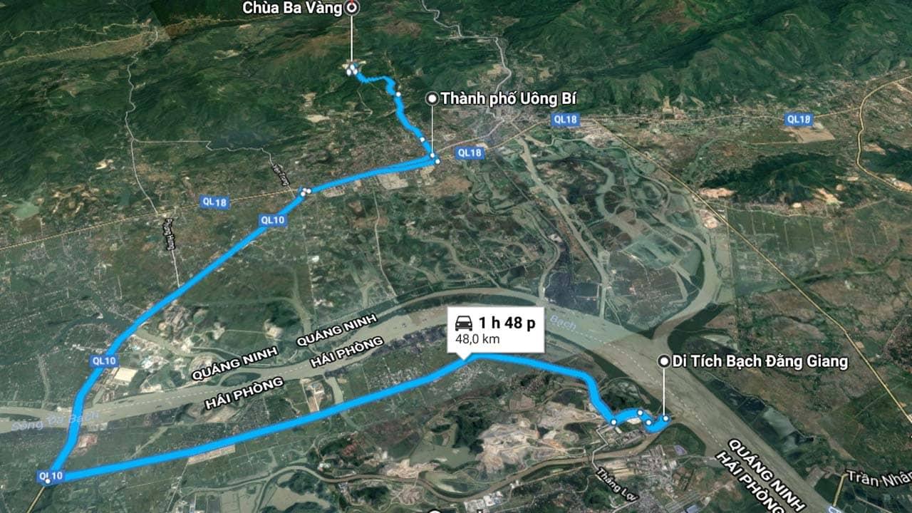 Khu di tích Bạch Đằng Giang thuộc tỉnh Hải Phòng nhưng nằm tiếp giáp với thành phố Uông Bí (Quảng Ninh)
