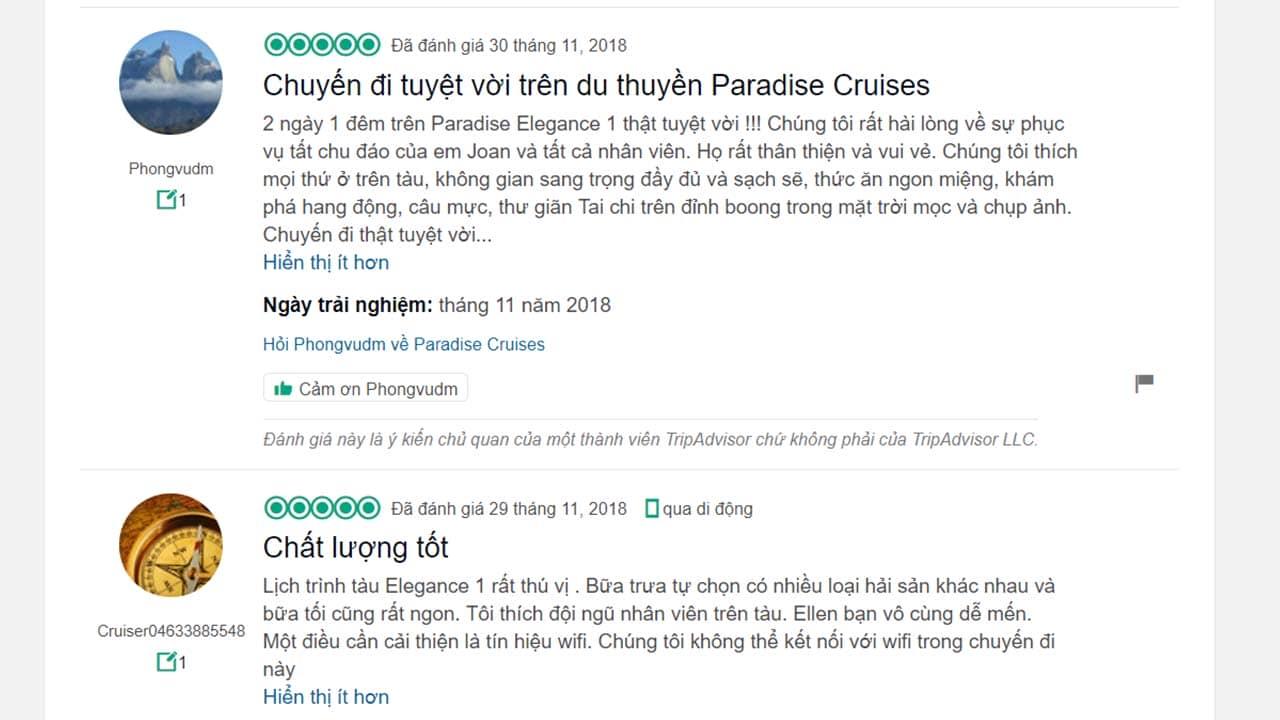 Review của du khách trên TripAdvisor về du thuyền Paradise. Nguồn: Internet
