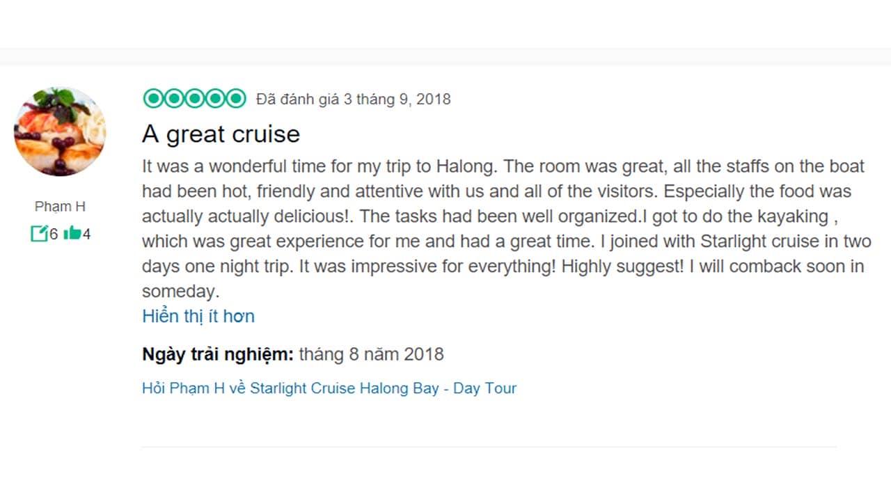 Review du thuyền Starlight của một du khách trên TripAdvisor. Nguồn: Internet