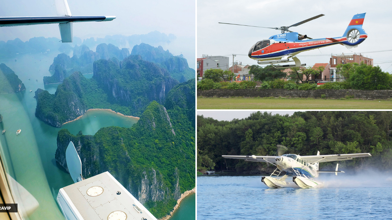 Di chuyển tới bến cảng bằng thủy phi cơ hoặc trực thăng. Nguồn: Internet