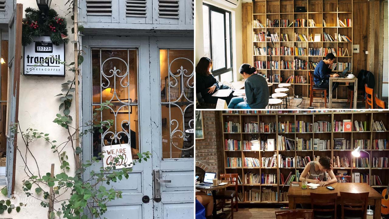 Tranquil is a quiet book cafe in Hanoi, visitors come here all read books or study or work