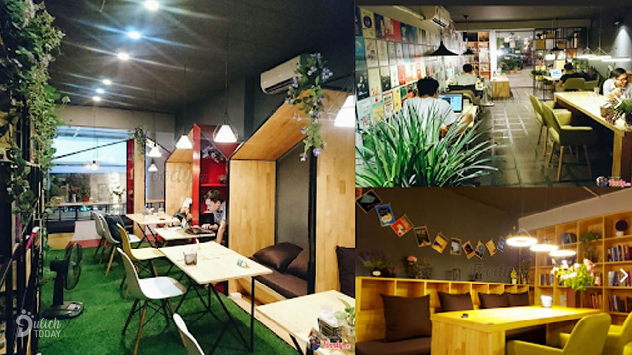 The space of Hanoi Bach Khoa book cafe is diverse, suitable for students to read books and study in groups.  Source: Internet
