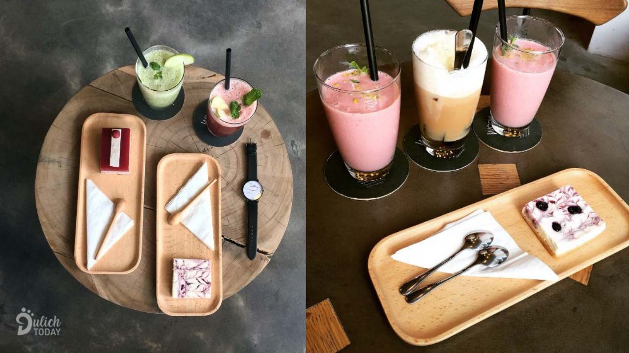 Nice set of drinks and cakes at Hanoi Work Cafe book cafe