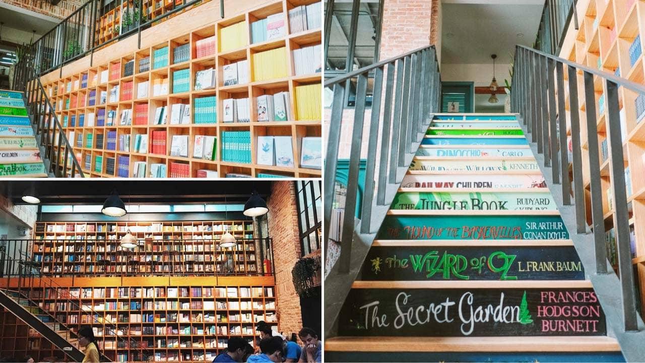 Eye-catching design inside Nha Nam book cafe in Hanoi
