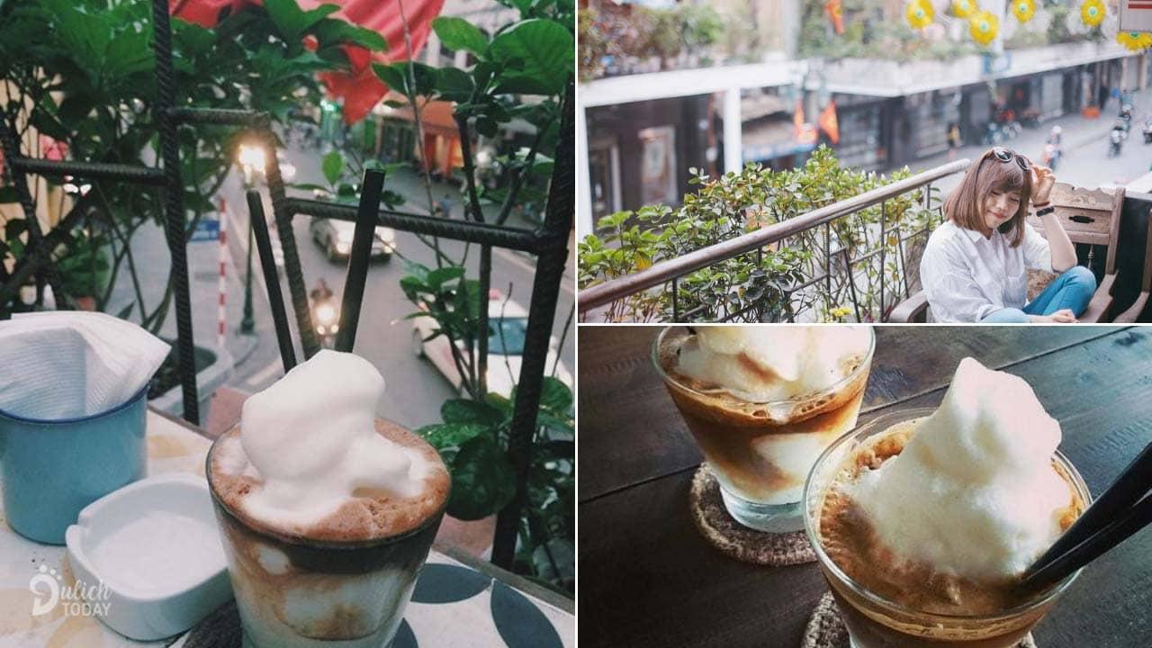 Nhâm nhi món cafe cốt dừa và ngắm phố phường Tràng Tiền ở Cộng Cafe