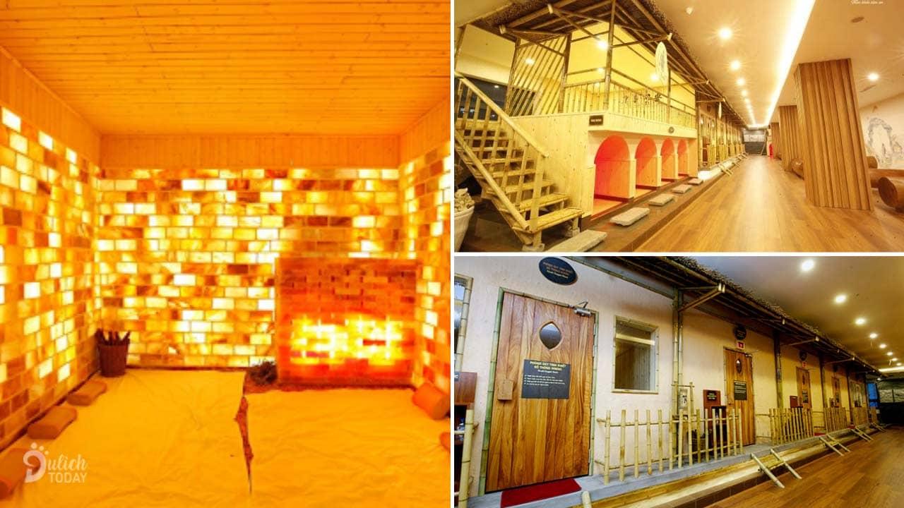 Hệ thống phòng xông hơi Jjim Jil Bang, trong đó có phòng xông đá muối Hà Nội