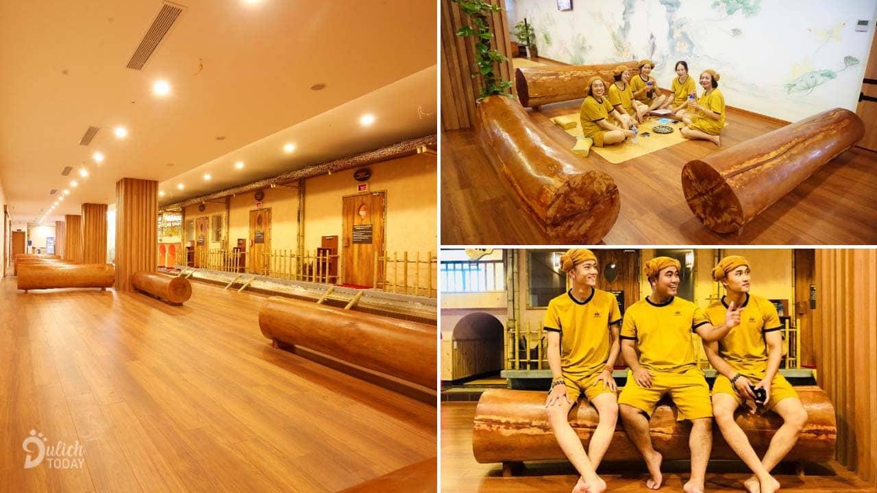 Khu vực công cộng rộng rãi để khách ngồi nghỉ ngơi thư giãn với nhau sau khi xông hơi