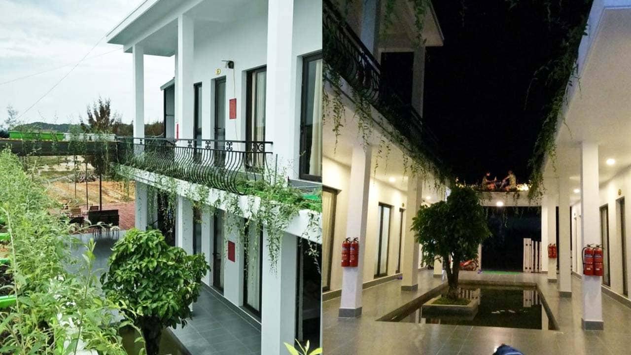 Khu homestay Cô Tô Haki 2 tầng với hồ nước và cây xanh. Nguồn: Internet