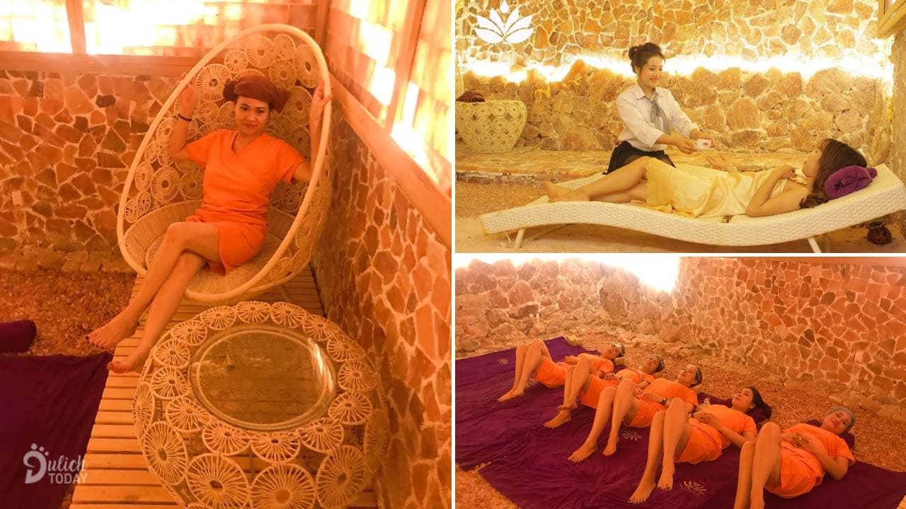 Hang xông hơi đá muối Hà Nội Iris Kim với nhiều loại phòng với các hình thức ghế ngồi, giường nằm đa dạng