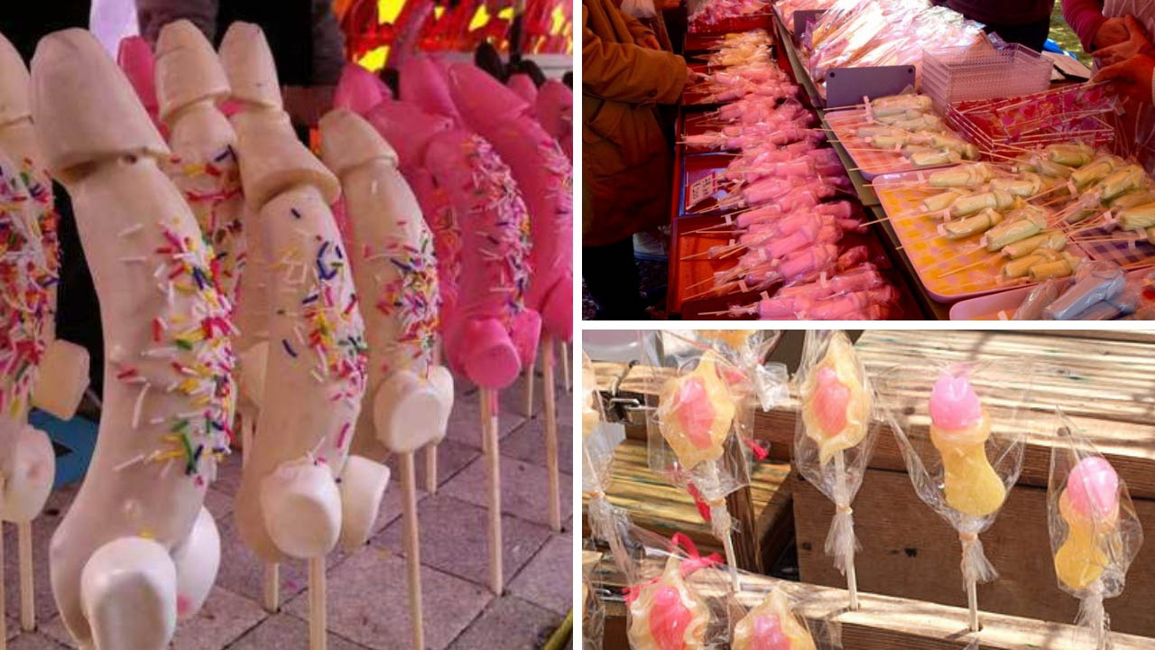 Những món ăn, đồ chơi được làm thành hình những chiếc dương vật trong lễ hội Honen Matsuri