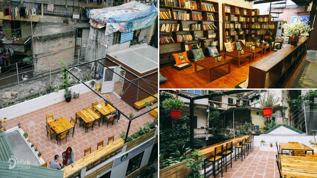 Hanoi book cafe Green Bird's Nest with open space on the balcony and large bookshelves for reading needs