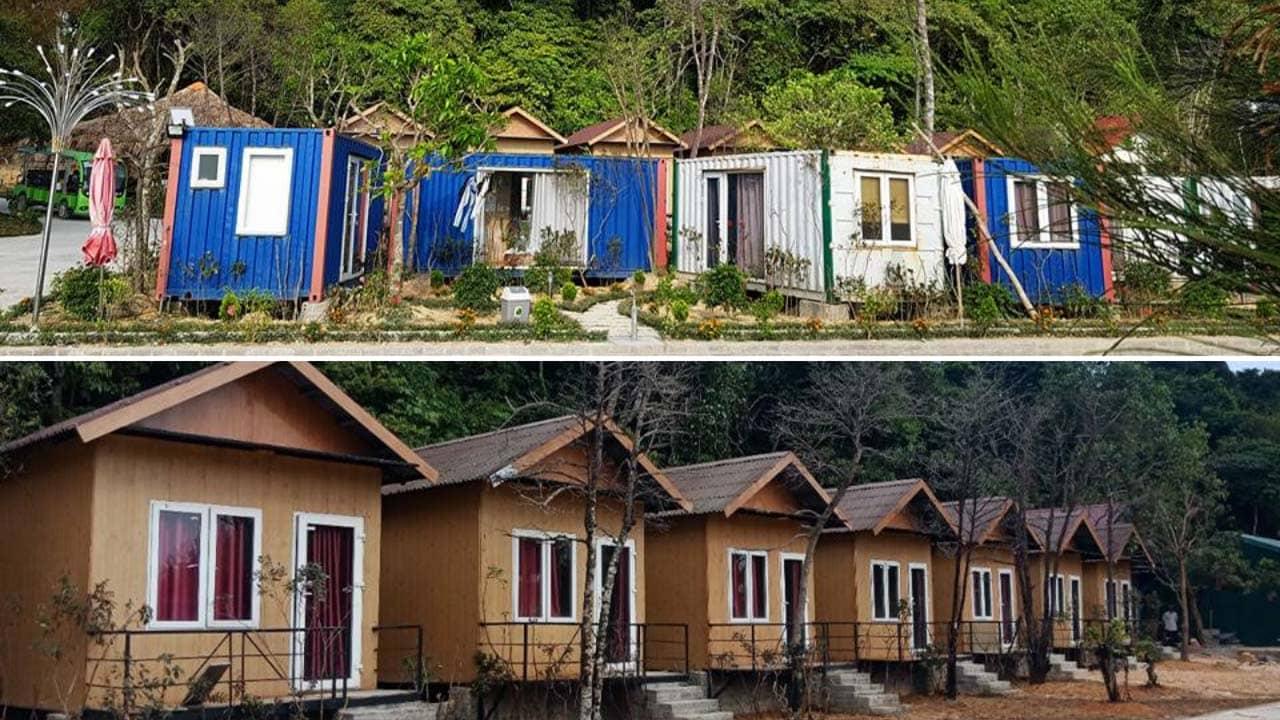 Dãy phòng nghỉ dạng bungalow và container tại homestay Thủy Hoàng Cô Tô. Nguồn: Internet
