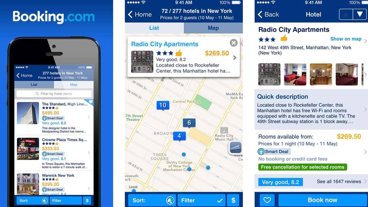Giao diện app đặt phòng khách sạn online Booking.com. Nguồn: Internet