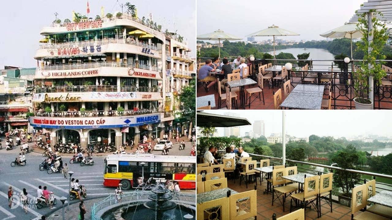Quán cafe view đẹp City View nằm ở tầng 5 và 6 của tòa nhà Hàm Cá Mập, với view nhìn trọn vẹn hồ Gươm
