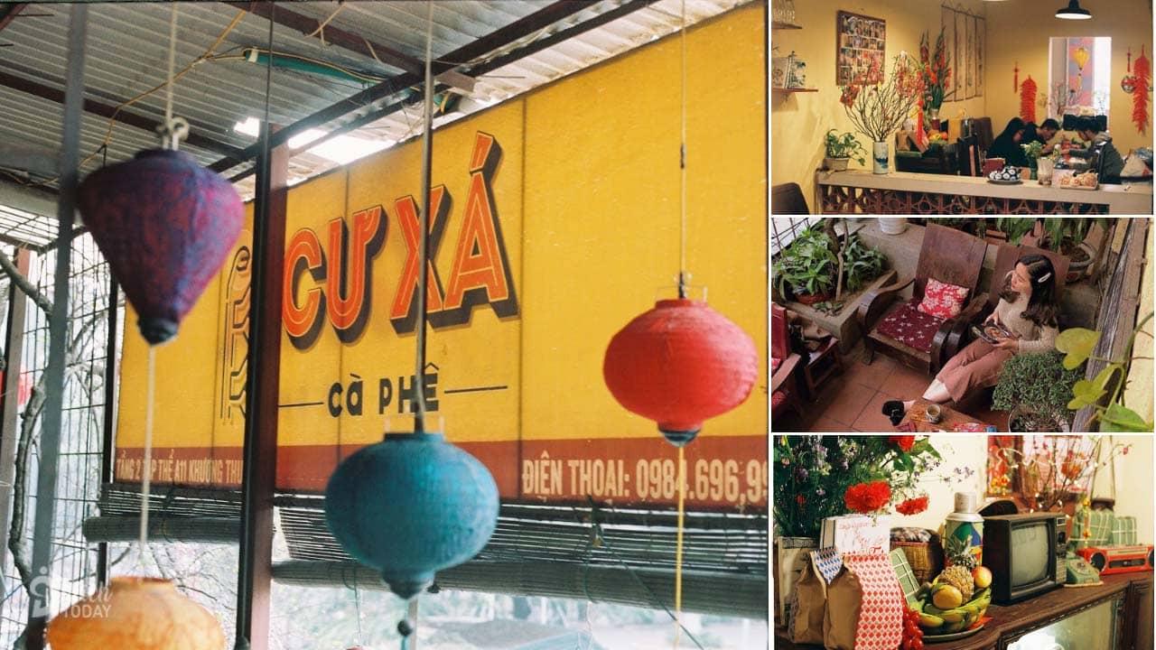 Quán cafe Cư Xá với view nhìn xuống con phố Tôn Thất Tùng tấp nập, nhìn thấy cánh cổng trường trung học với những sắc áo đồng phục tuổi thơ
