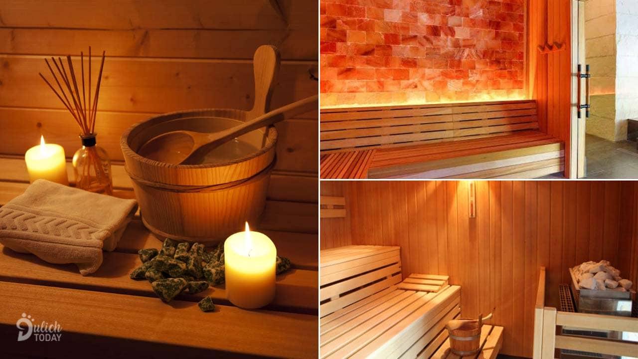 Phòng xông hơi sạch sẽ và hiện đại tại Dencos Luxury, kết hợp xông đá muối với tắm thuốc bắc