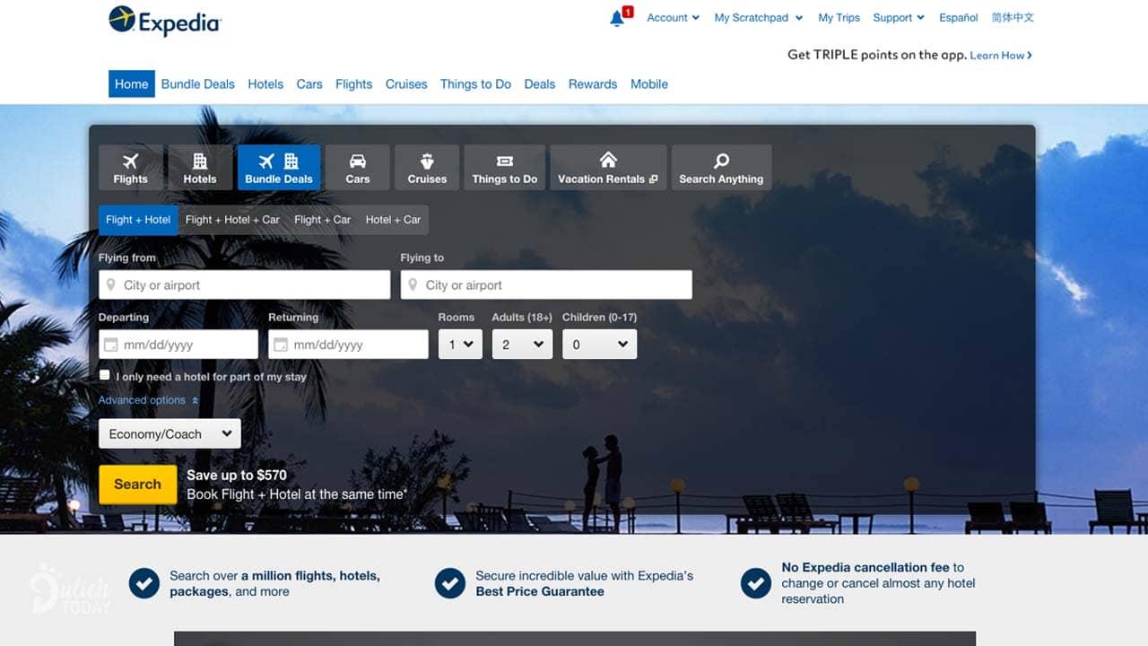 Expedia có nhiều tiện ích như thuê xe, thuê du thuyền, đặt vé máy bay,...