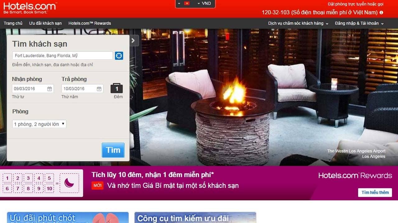 Hotels.com có chương trình tích điểm với ưu đãi 1 đêm miễn phí dành cho khách hàng. Nguồn: Internet