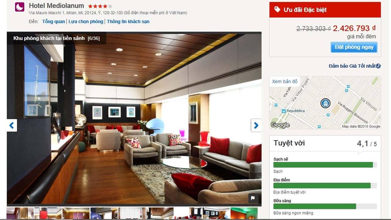 Các phòng khách sạn trên Hotels.com hiển thị với mức giá thấp nhất kèm theo những ưu đãi lớn. Nguồn: Internet