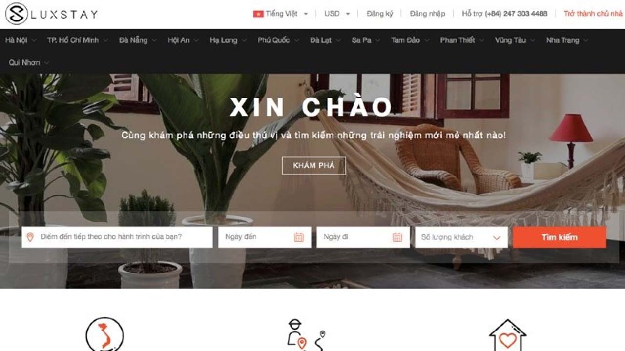Giao diện Luxstay sử dụng ngôn ngữ thuần Việt, thân thiện với người Việt. Nguồn: Internet