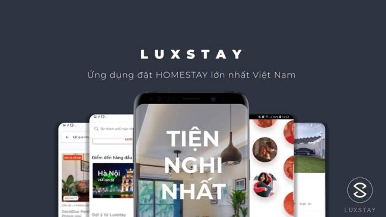 Luxstay là app đặt phòng khách sạn online, kết nối giữa chủ nhà và du khách thuê nhà tại Việt Nam. Nguồn: Internet