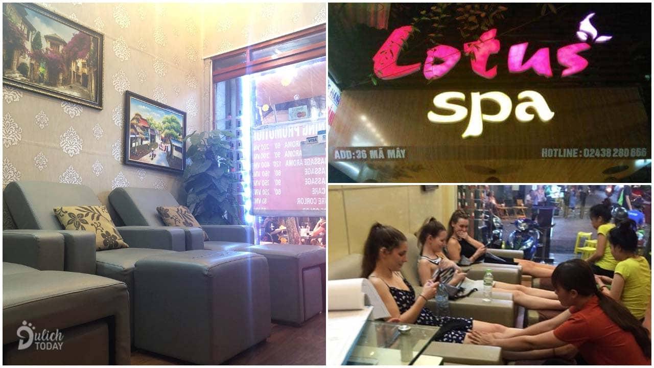 Địa chỉ massage chân Hà Nội Lotus Spa ngay trên phố đi bộ rất thuận tiện cho khách du lịch